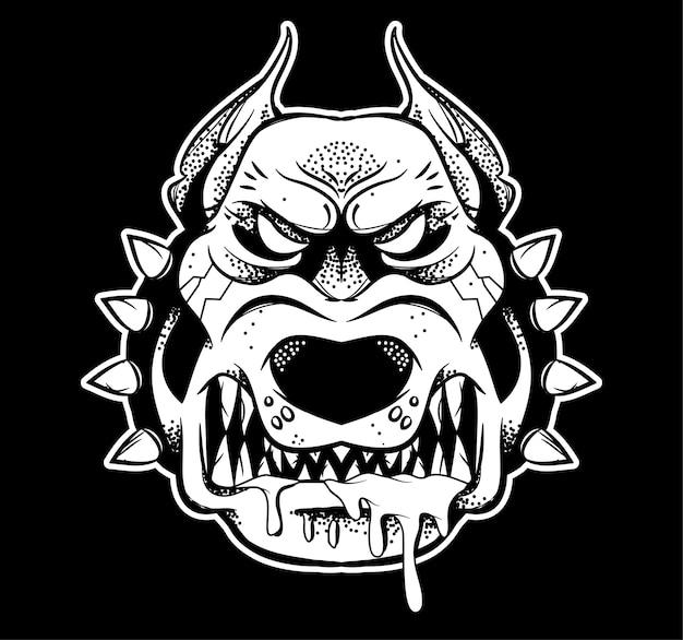 Grafik sehr großer wütender gefährlicher kämpfer sicherheitshund, der seine großen zähne zeigt und genervt zum knurren. moderner stilcharakter der schwarzen weißen designillustration für den isolierten weißen hintergrund des drucks. Premium Vektoren