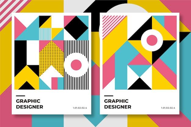 Grafikdesign-abdeckungskollektion im baugaus-stil Kostenlosen Vektoren