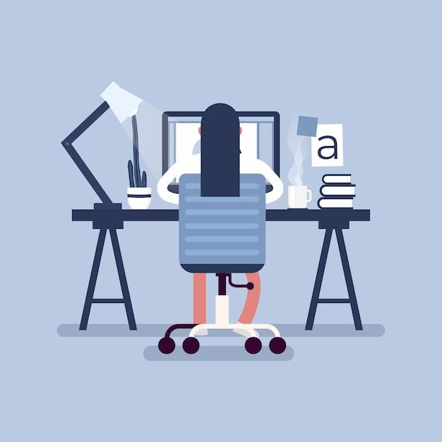 Grafikdesign-arbeitsbereich. designer, die auf dem schreibtisch sitzen, hintere ansicht. Premium Vektoren