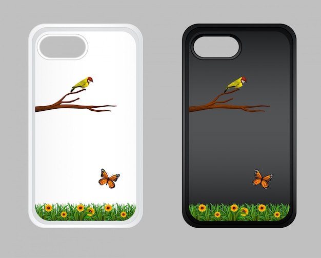 Grafikdesign auf handykasten mit vogel und schmetterling Kostenlosen Vektoren