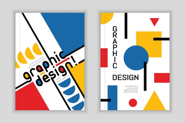 Grafikdesign cover set bauhaus-stil Premium Vektoren