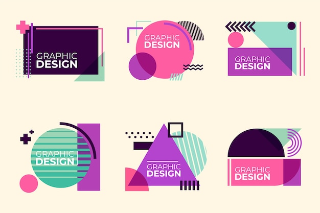 Grafikdesign-etiketten im geometrischen stil Premium Vektoren