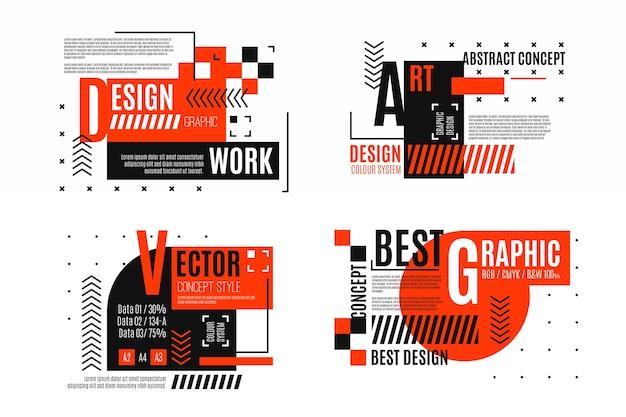Grafikdesign-etiketten im geometrischen stil Kostenlosen Vektoren