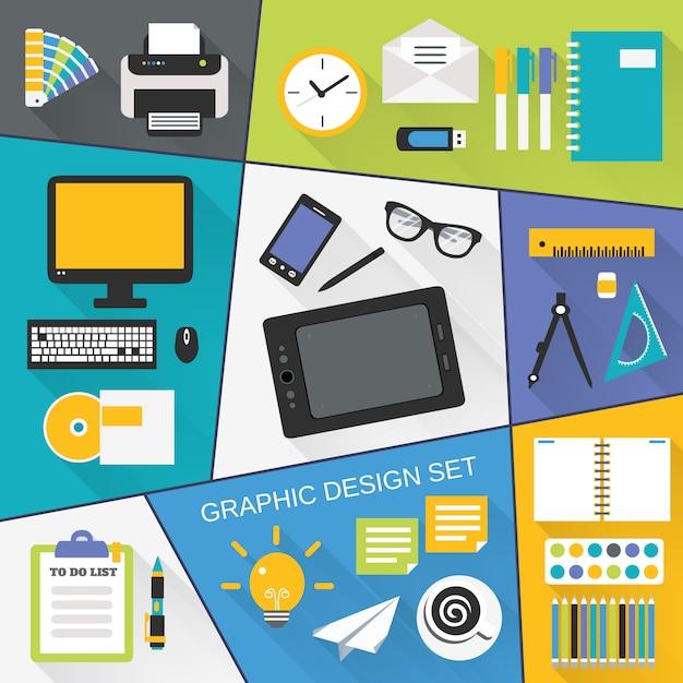 Grafikdesign flach gesetzt Kostenlosen Vektoren