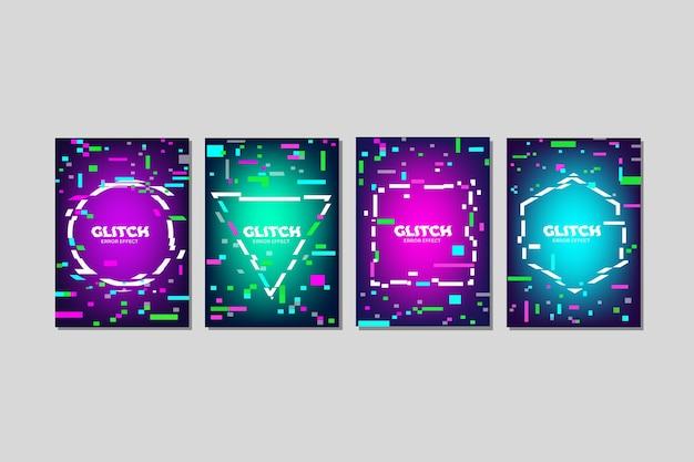 Grafikdesign glitch cover kollektion Kostenlosen Vektoren