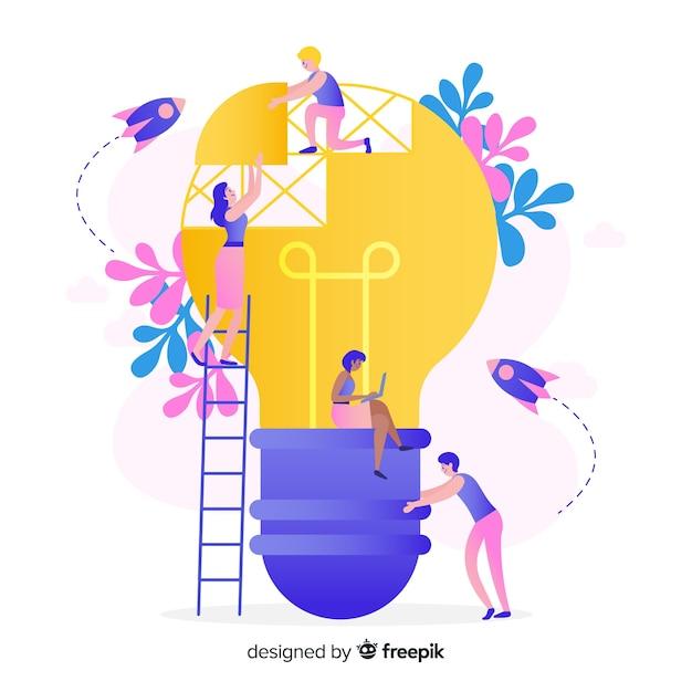 Grafikdesign-teamwork-konzept Kostenlosen Vektoren