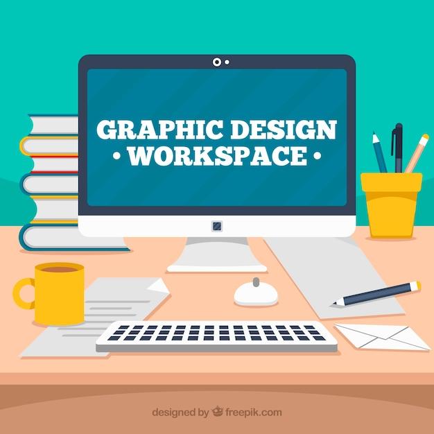Grafikdesignarbeitsraumhintergrund mit Schreibtisch und Werkzeugen Kostenlose Vektoren