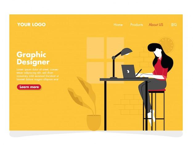 Grafikdesigner illustration für die landing page Premium Vektoren