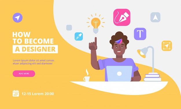 Grafikdesigner landing page vorlage Premium Vektoren