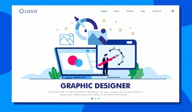 Grafikdesigner landing page website illustration Premium Vektoren