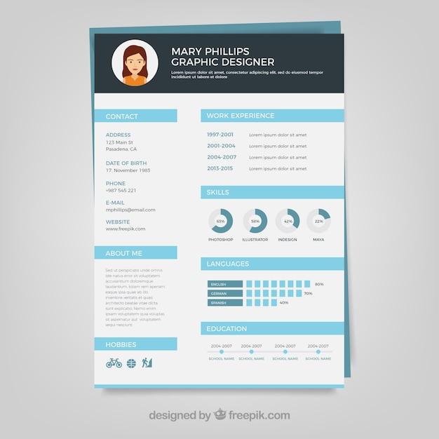 Grafikdesigner Lebenslauf Vorlage | Download der kostenlosen Vektor