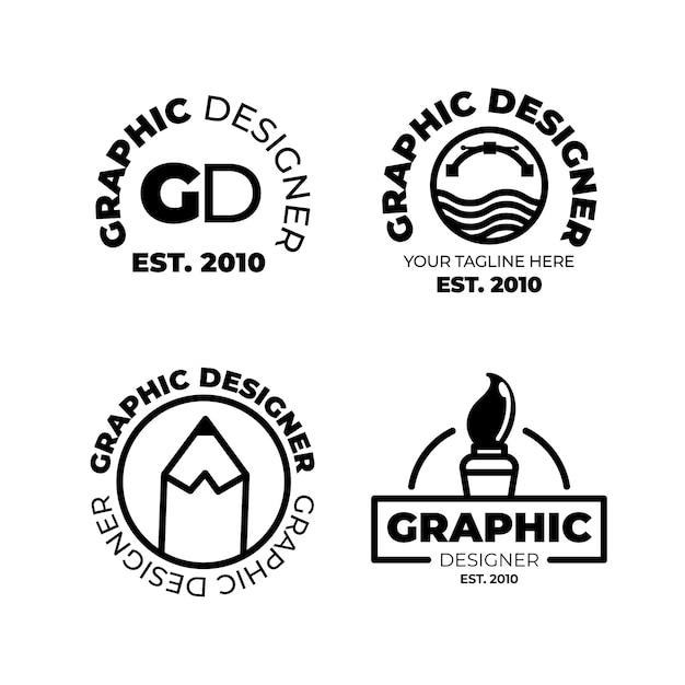 Grafikdesigner-logo-sammlung des flachen designs Kostenlosen Vektoren