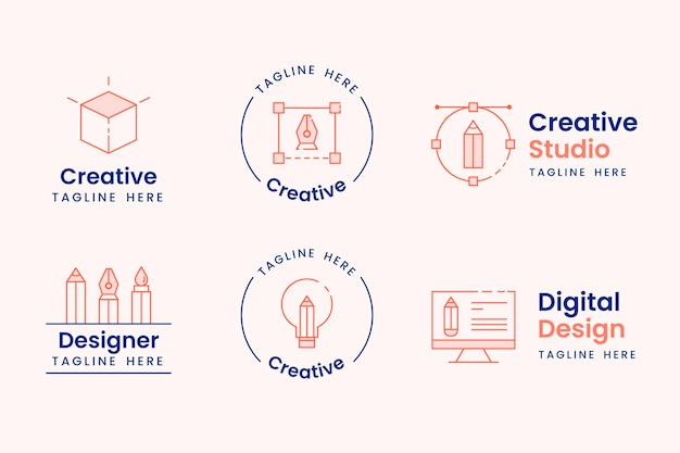 Grafikdesigner-logo-sammlung Premium Vektoren