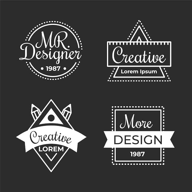 Grafikdesigner-logo-set des flachen designs Premium Vektoren