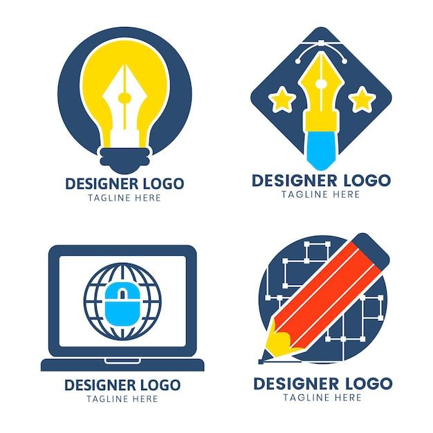 Grafikdesigner-logo-set des flachen designs Kostenlosen Vektoren