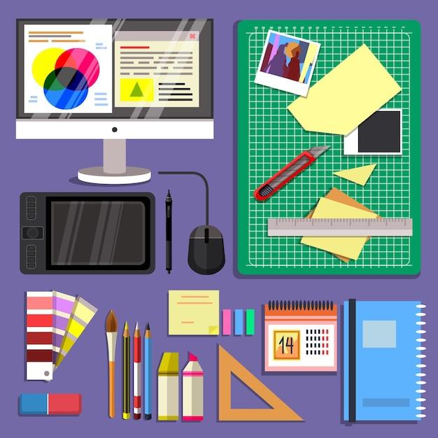 Grafikdesigner schreibtisch mit verschiedenen objekten Kostenlosen Vektoren