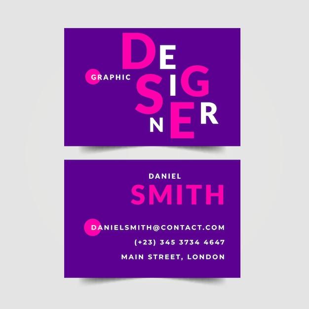 Grafikdesigner-visitenkarte in den violetten schatten Kostenlosen Vektoren