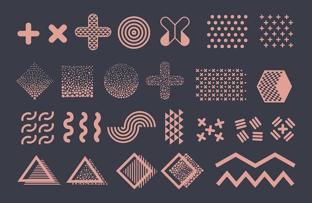 Grafische elemente von memphis. funky geometrische formen und halbtöne sammlung Premium Vektoren