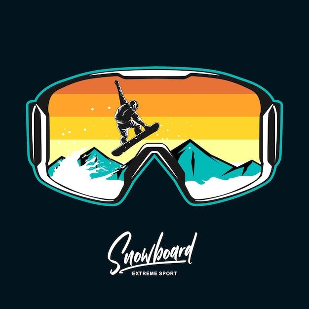 Grafische illustration der snowboardbrille Premium Vektoren