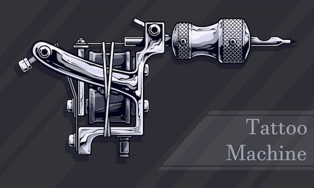 Grafische schwarzweiss-metalltätowierungsmaschine Premium Vektoren