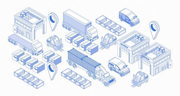 Grafische symbole für liefergegenstände Premium Vektoren