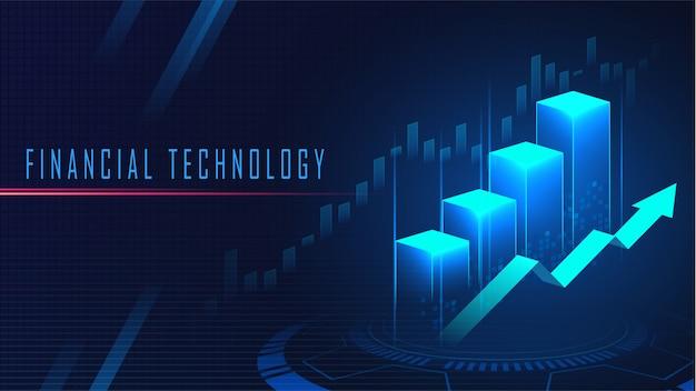 Grafischer konzepthintergrund der finanztechnologie Premium Vektoren