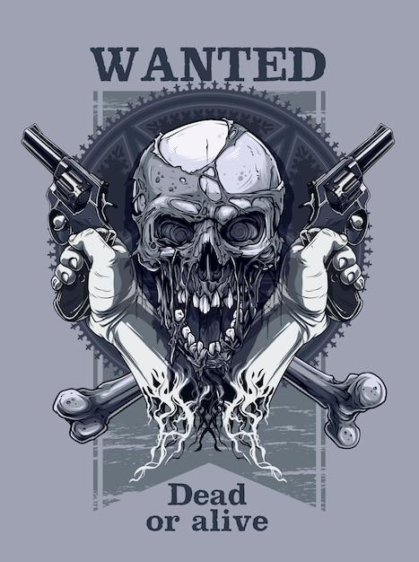 Grafischer realistischer schädel mit der hand, die revolver hält Premium Vektoren