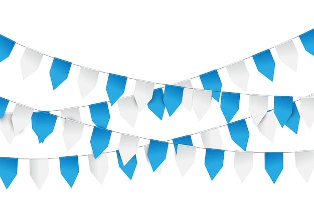 Graland-flaggen aus blauem und weißem papier Premium Vektoren