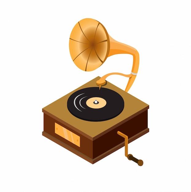 Grammophon mit schallplatte, klassisches audio-musik-player-gerät der holzkiste in der flachen illustration des isometrischen cartoons Premium Vektoren