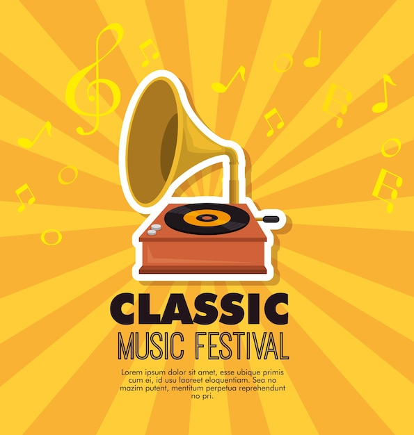 Grammophon musikfestival label Premium Vektoren
