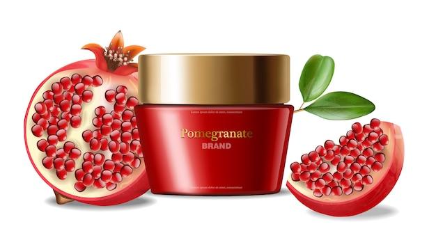 Granatapfel-gesichtscreme realistisch, rote kosmetik, weißer hintergrund Premium Vektoren