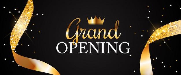Grand opening banner mit goldenem band Premium Vektoren