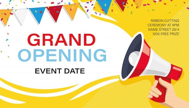 Grand opening banner vorlage. werbung Premium Vektoren