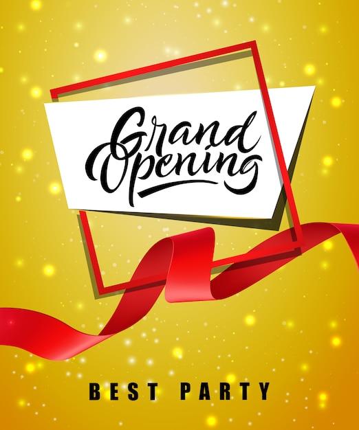 Grand opening, bestes festliches plakat der partei mit rahmen und rotem wellenartig bewegendem band Kostenlosen Vektoren