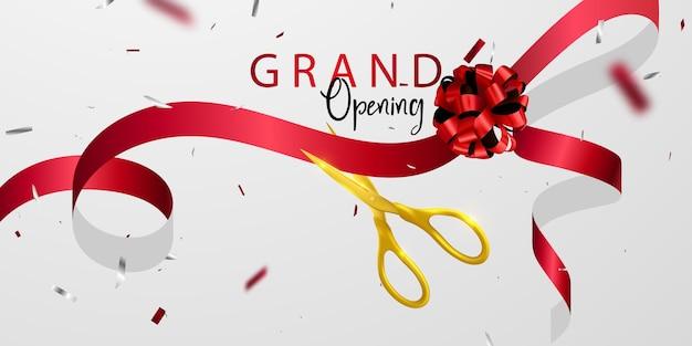 Grand opening card mit roter band hintergrund glitter rahmen vorlage. Premium Vektoren