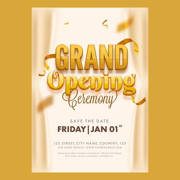 Grand opening ceremony flyer oder template design mit event details für werbung Premium Vektoren