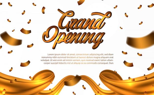 Grand opening gold konfetti und gold seide Premium Vektoren