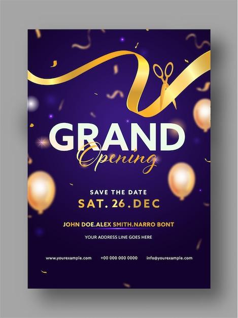 Grand opening party einladungsschablonenlayout mit goldenem band und scherenillustration Premium Vektoren