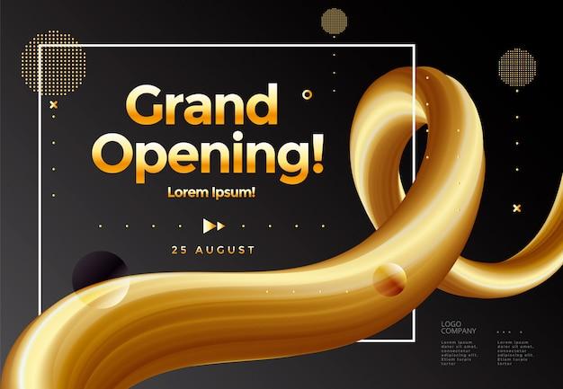 Grand opening poster oder banner vorlage mit grafikballon und abstraktem goldenen band. Premium Vektoren