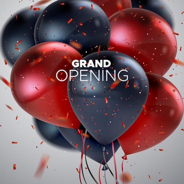 Grand opening schild mit luftballons und konfetti Premium Vektoren