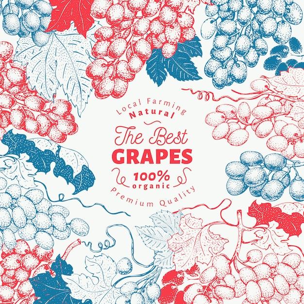 Grape berry frame-vorlage. Premium Vektoren