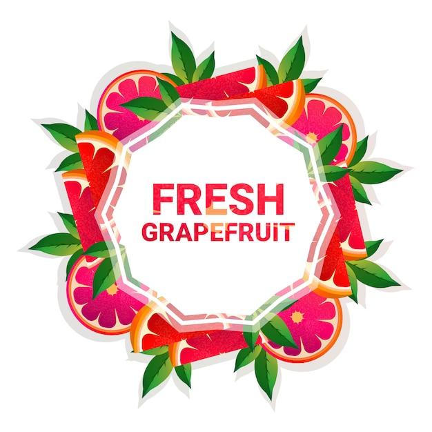 Grapefruit obst bunten kreis textfreiraum bio über weißem hintergrundmuster Premium Vektoren