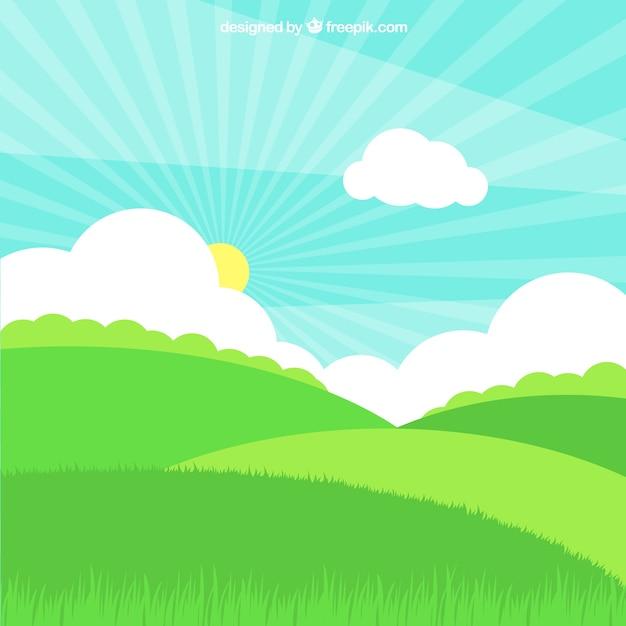 Grasfeld mit sonne und wolken in flaches design Kostenlosen Vektoren