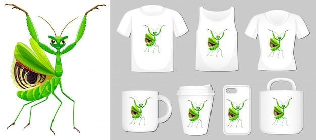 Grasshopper auf verschiedenen produktvorlagen Kostenlosen Vektoren