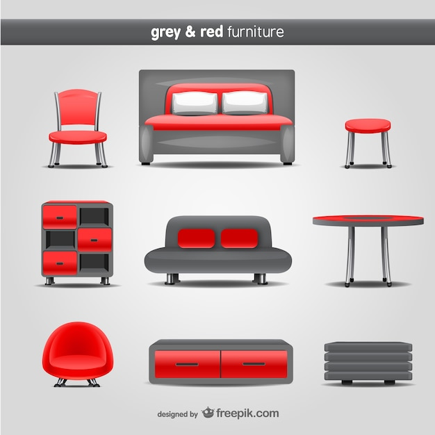 Grau und rot Möbel Vektor Kostenlose Vektoren