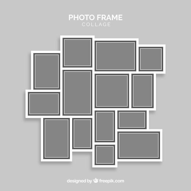 Graue fotorahmencollage Kostenlosen Vektoren