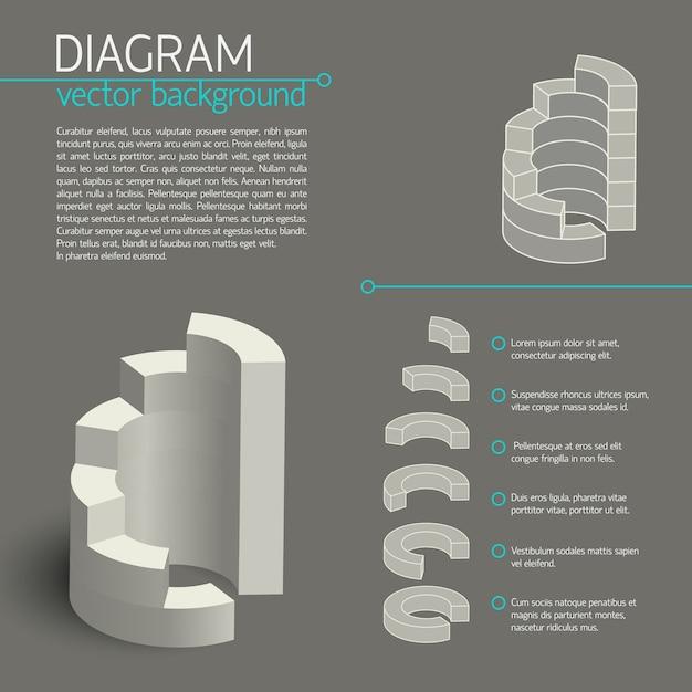Graue geschäftsdiagramm-infografik mit isolierten elementen oder diagrammen und beschreibungen Kostenlosen Vektoren