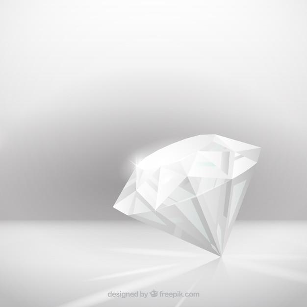 Grauer hintergrund mit realistischem diamanten Kostenlosen Vektoren
