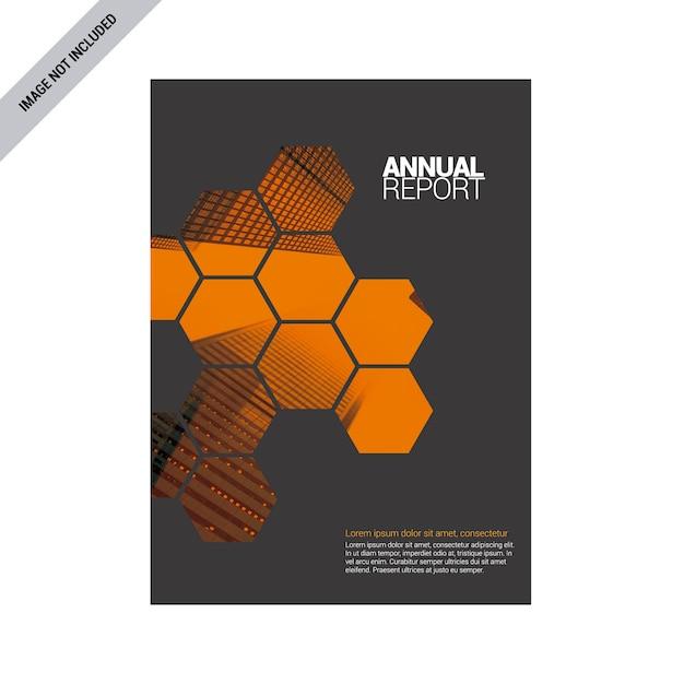 Grauer jahresbericht mit orangefarbenen details Kostenlosen Vektoren