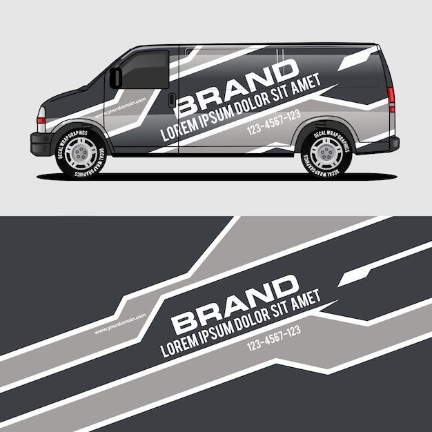 Grauer packwagenentwurf, der aufkleber und aufkleberentwurf einwickelt Premium Vektoren